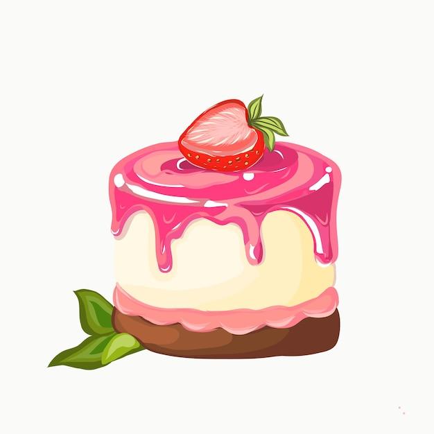 흰색 배경에 고립 된 딸기와 케이크입니다. 프리미엄 벡터