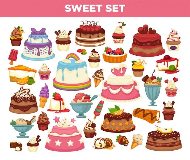 Торты и кексы кондитерские десерты набор Premium векторы