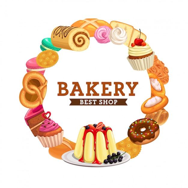 Cakes, bakery bread, chocolate pastry food menu Premium Vector