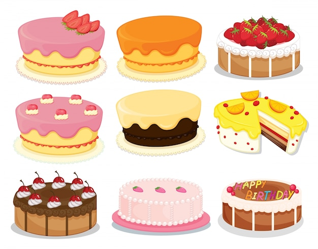 Cakes collection 2 Premium Vector