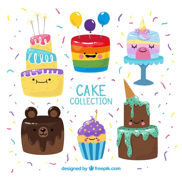 Cakes collection with cream and berries  Free Vector