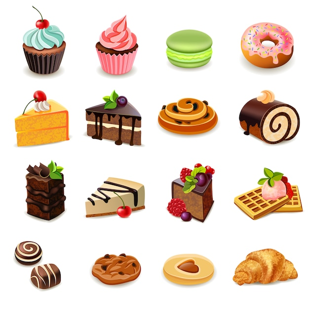 Cakes icons set Free Vector