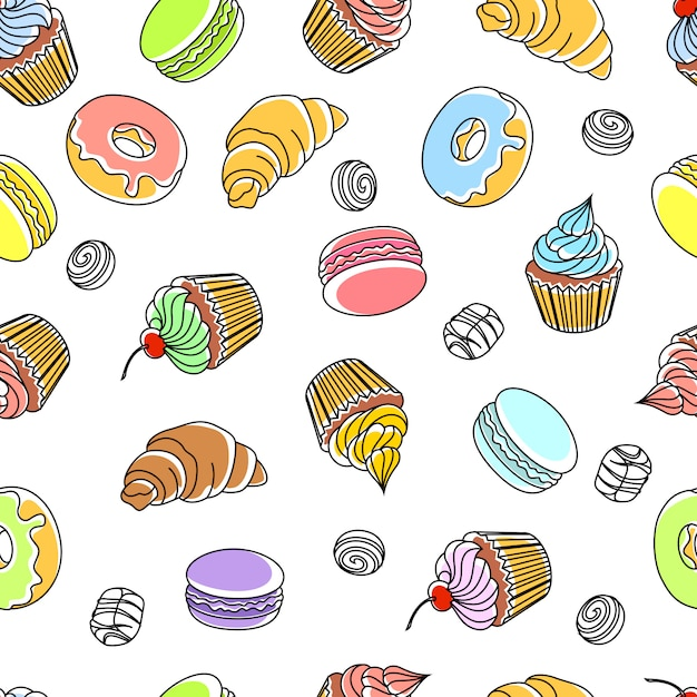 Cakes seamless pattern Free Vector