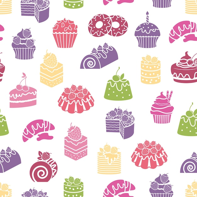 Cakes and sweets seamless pattern background. dessert and food, cream and bakery, vector illustration Free Vector