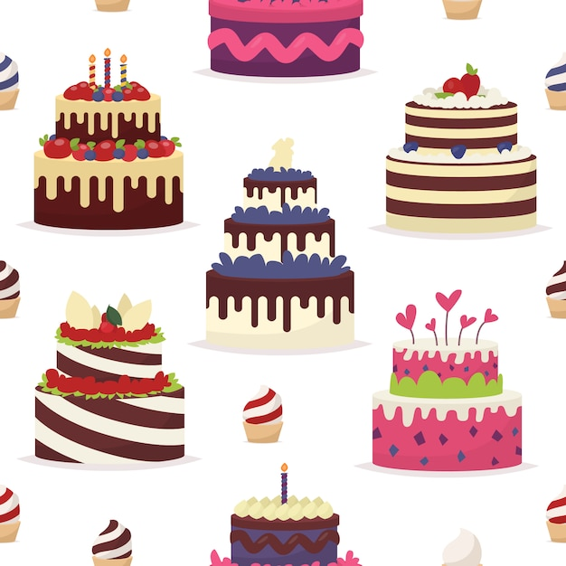 Cakes on a white background. seamless pattern in the  style Premium Vector