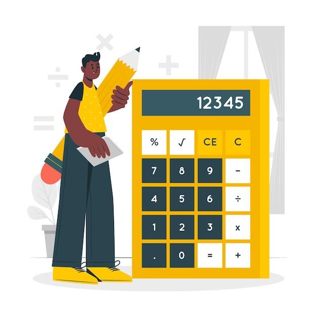 Иллюстрация концепции калькулятора Бесплатные векторы