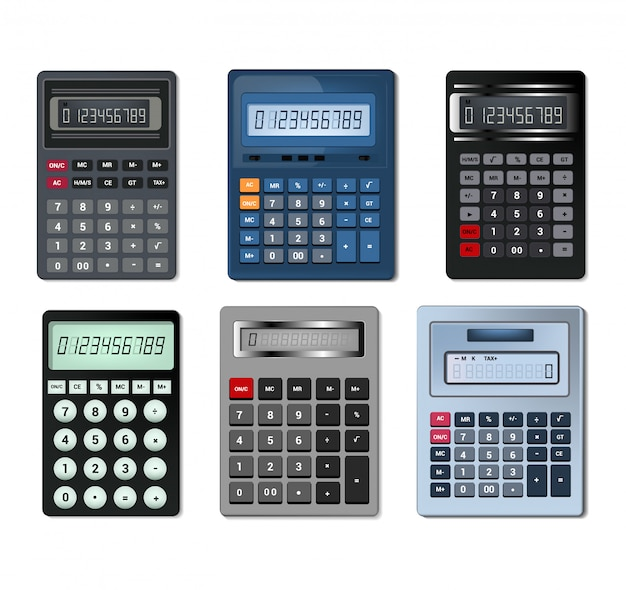 Calculator vector business accounting calculation technology calculating Premium Vector