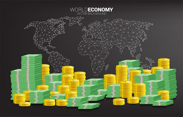 Calculator with coin and banknote stack with polygon world map background Premium Vector