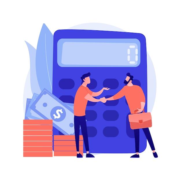 数の電卓。金融取引。握手で確認します。業務、監査、ベンチャーキャピタルの計算。経済的パートナーシップ。ベクトル分離された概念の比喩の図。 無料ベクター