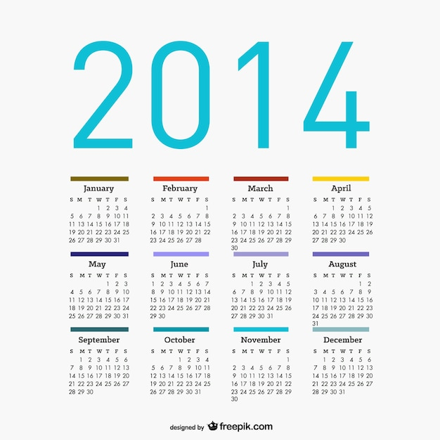 Calendar 2014 Free Vector