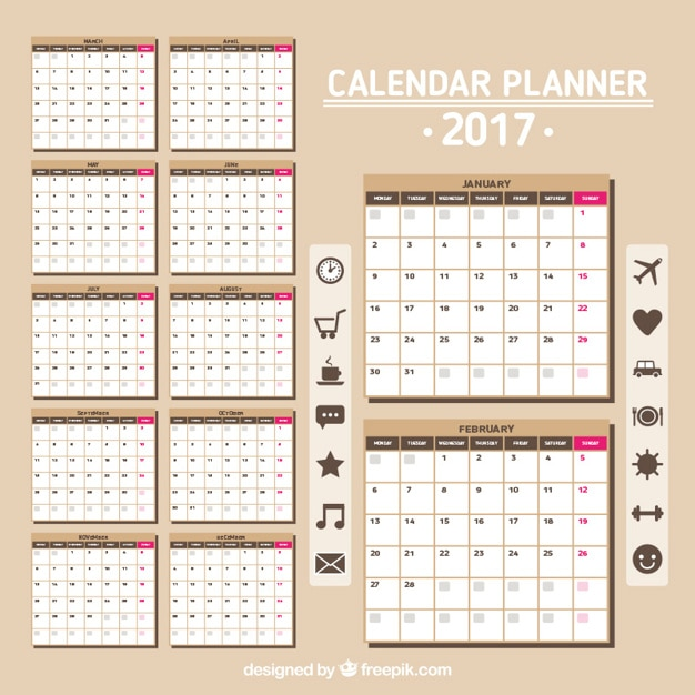 Calendar 2017 in brown color Vector | Free Download