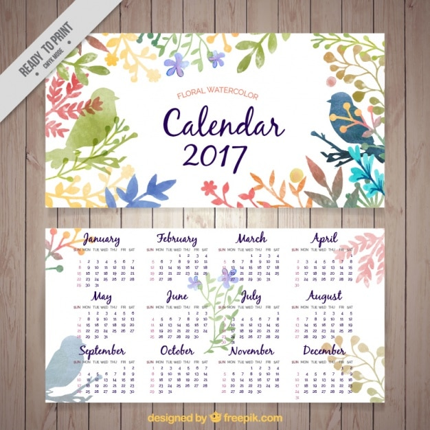Calendar 2017 of watercolor leaves Free Vector