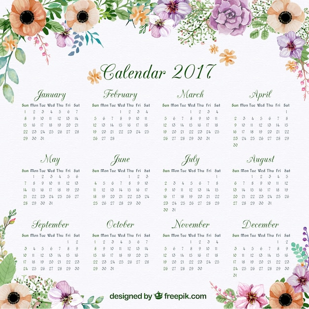 Calendar of 2017 with floral watercolor decoration Premium Vector