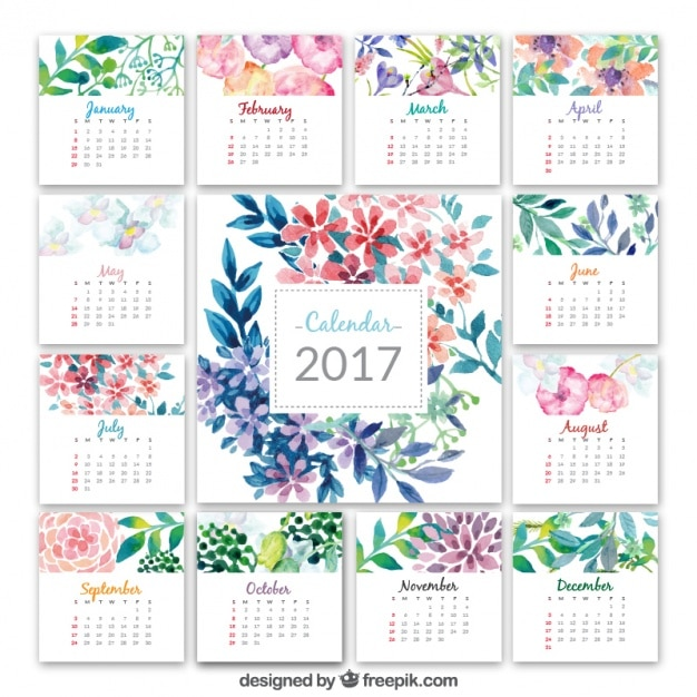 Calendar 2017 With Watercolor Flowers Vector Free Download