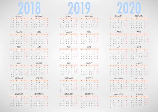 Calendario 2020 Vector Gratis.Calendar For 2018 2019 2020 Simple Vector Template Vector