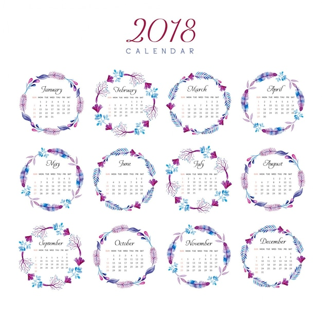 Calendar Design Free Vector : Calendar floral ring design vector free download