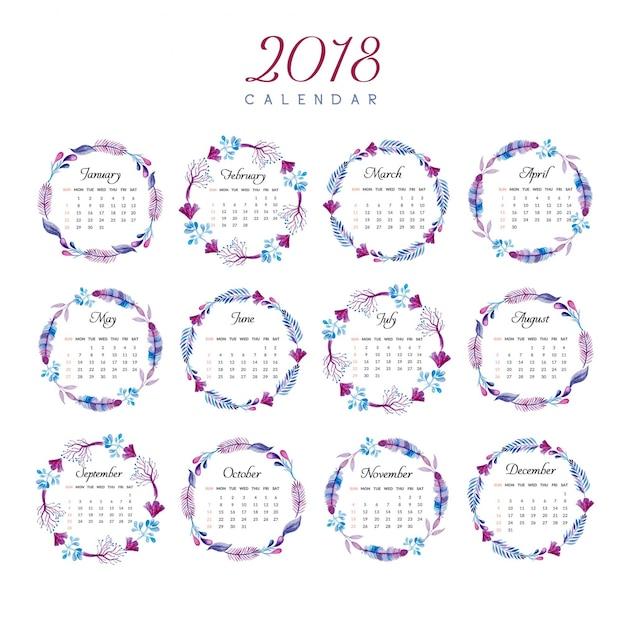 Calendar 2018 Floral Ring Design Vector Free Download