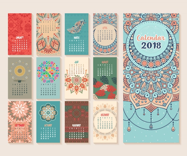 Calendar 2018. vintage decorative elements. oriental pattern, vector illustration. Premium Vector