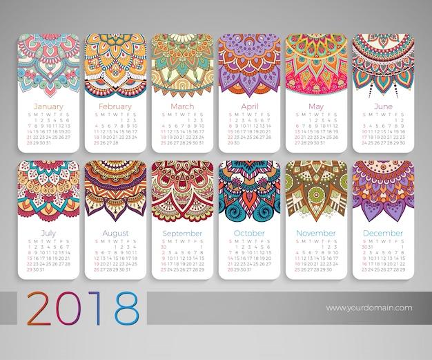 2018 Calendar Vintage : Calendar vintage decorative elements oriental