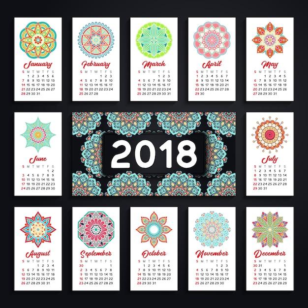 カレンダー2018。ヴィンテージ装飾要素。東洋のパターン、ベクトルイラスト。 Premiumベクター
