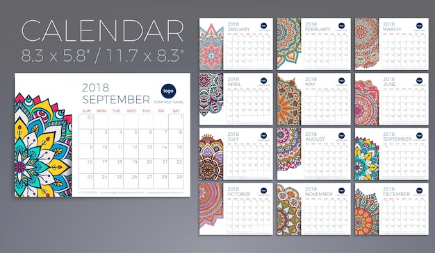 Calendar 2018. Vintage decorative elements. Oriental pattern, vector illustration. Free Vector