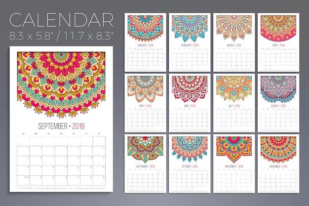 2018 Calendar Vintage : Calendar vintage decorative elements vector