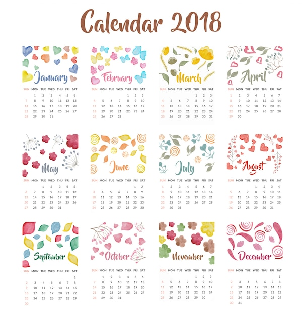 Typography Calendar Free : Calendar watercolor design vector free download