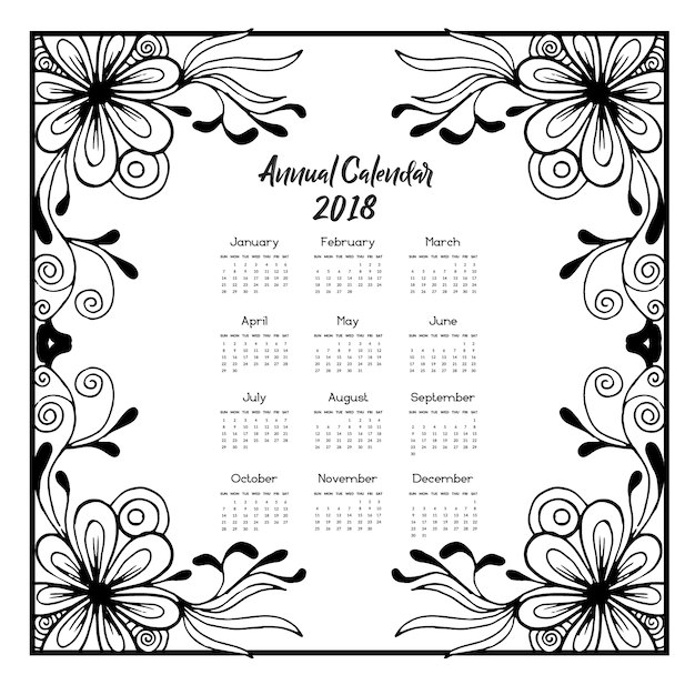 Calendar 2018 with flowers