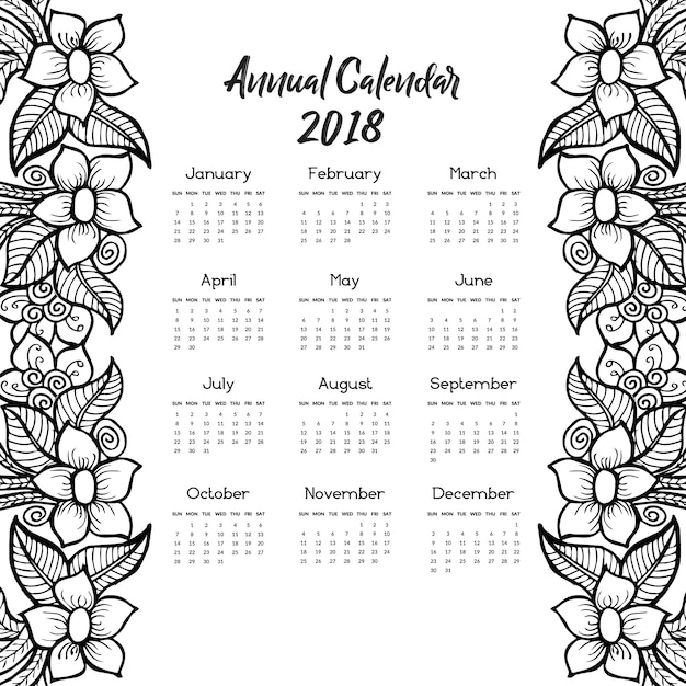 Calendar 2018 with hand drawn floral design Premium Vector