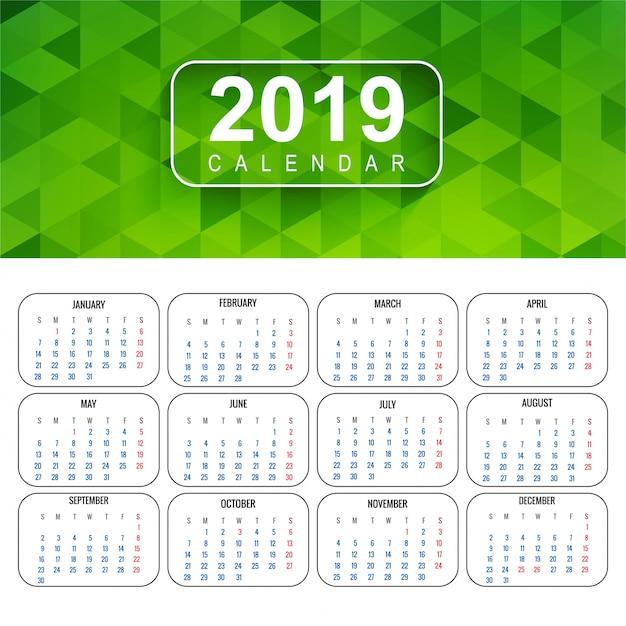 Kalender untuk 2019 latar belakang vektor Vektor Premium