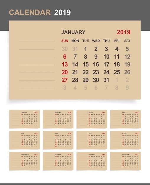 Calendar 2019 on brown paper. Premium Vector