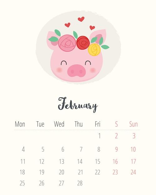 Calendarios De February De 2019 Bonitos Calendar 2019. cute pig. february month. Vector | Premium Download