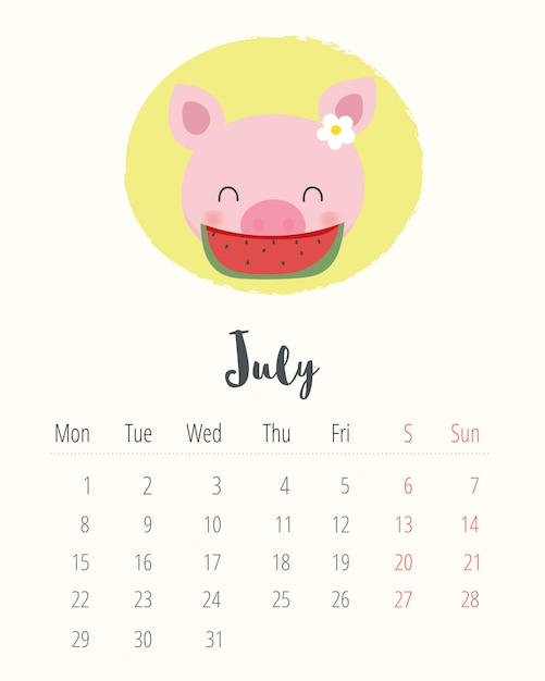 Calendario Julio 2019 Vector.Calendar 2019 Cute Pig July Month Vector Premium Download