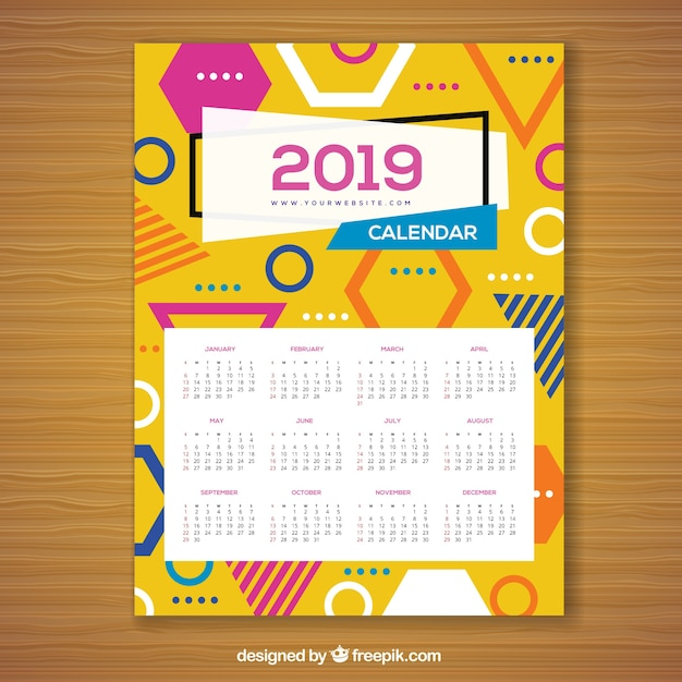 Calendar for 2019 in memphis style Free Vector