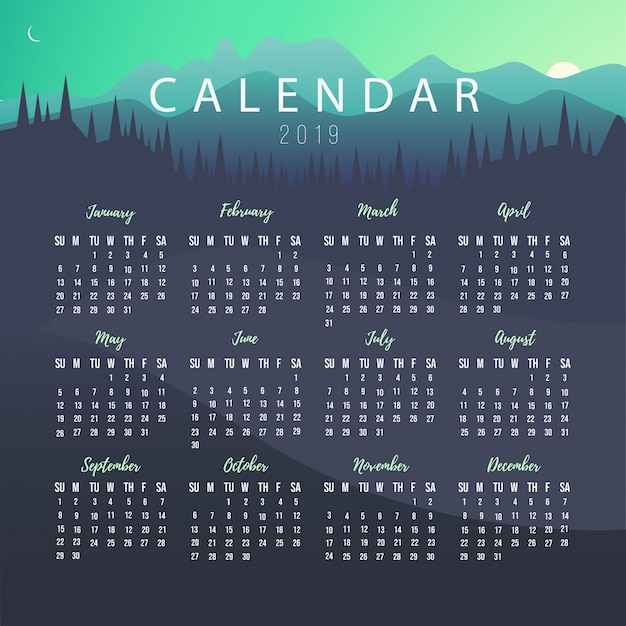 Calendar 2019 Template With Landscape Vector Free Download