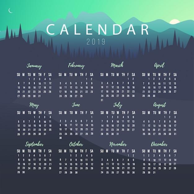 Calendario 2019 Illustrator.Calendar 2019 Template With Landscape Vector Free Download