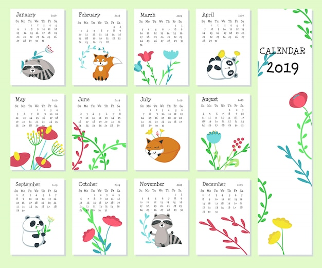 Calendar 2019 with cute animals Premium Vector