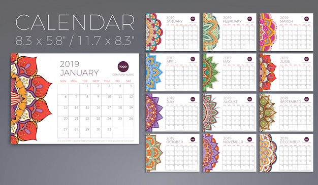 Calendar 2019 with mandalas Free Vector