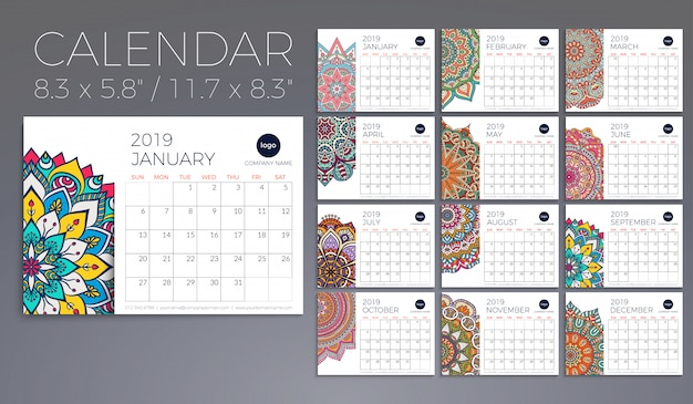 Calendar 2019 with mandalas Free Vector