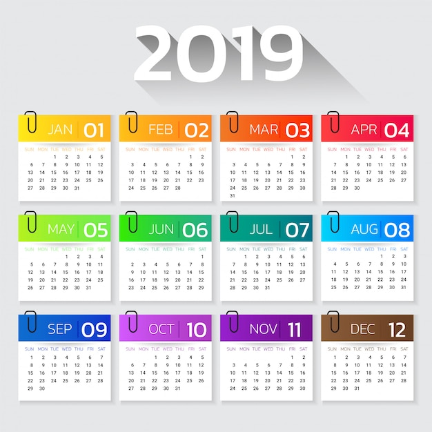 Calendar 2019 year colorful gradient template. Premium Vector