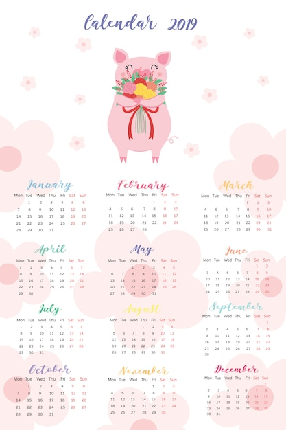 Calendar 2019 Premium Vector
