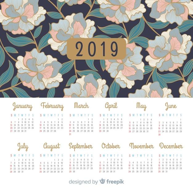 Calendar 2019 Free Vector