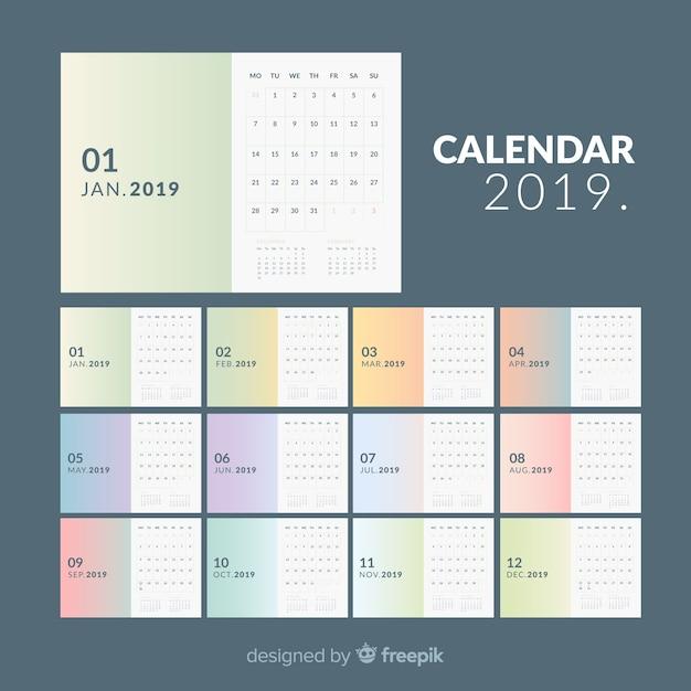 Календарь 2019 Бесплатные векторы