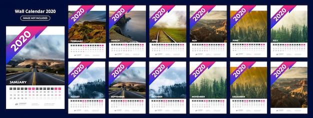 Calendar 202 template Premium Vector