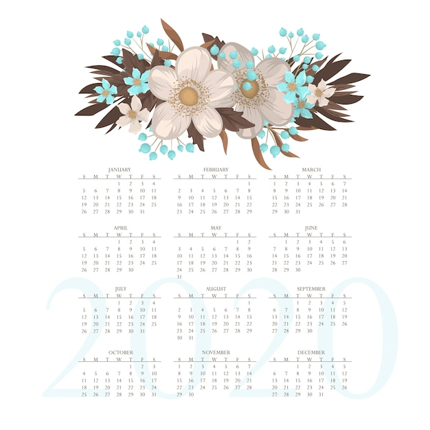 カレンダー2020。花のカレンダーと水色の花 無料ベクター