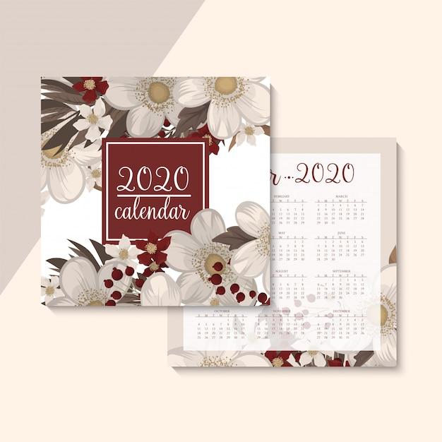 カレンダー2020。赤い花と花のカレンダー。ベクトルイラスト。 無料ベクター