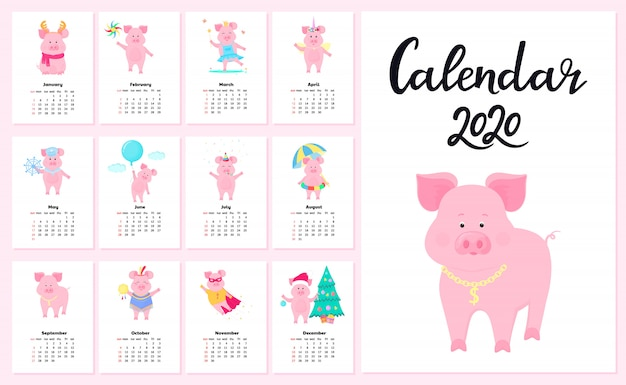 Calendar for 2020 from sunday to saturday Premium Vector