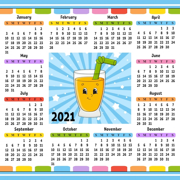 Premium Vector | Calendar for 2020 with a cute character.