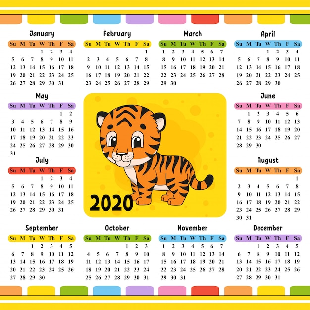 Calendario 2020 Gratis Con Foto.Calendar For 2020 With A Cute Character Vector Premium