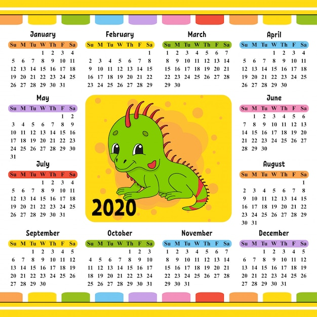 Calendar for 2020 with a cute character. Premium Vector